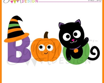 Boo clipart, Halloween clipart, Halloween lettering, black cat, witch clipart, pumpkin clipart, instant download