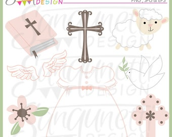 Girls Baptism Clipart, Christian Clipart, Church Clipart, Angel Clipart, Christening Gown Clipart, Cross Clipart, Baptism Graphics