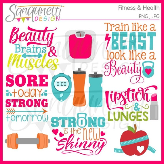 fitness clipart workout clipart exercise clipart gym etsy