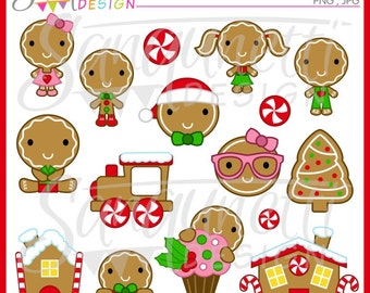 Christmas Gingerbread Clipart, Gingerbread Clipart, Gingerbread House Clipart, Christmas Cookie Clipart, Instant Download