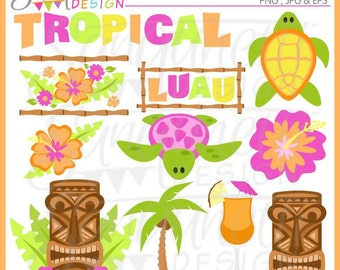 Luau clipart, tropical clipart, Hawaii clipart, summer clipart, aloha clipart,  Instant download