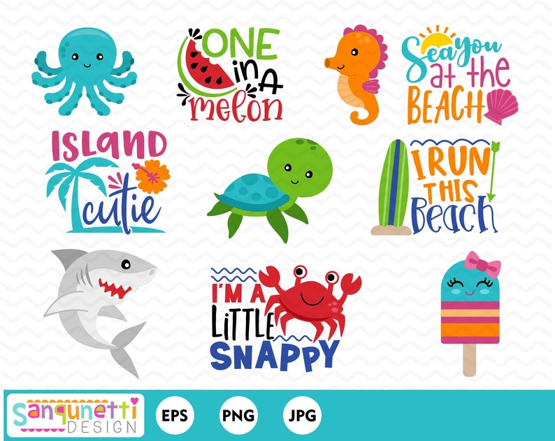 Summer clipart, beach and sea digital art instant download