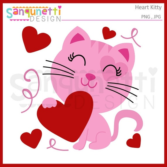 Valentine Kitty Valentine Clipart Cat Clipart Kitty Etsy