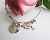 Live Laugh Love Adjustable Bangle Bracelet, Love Bracelet, Inspirational Bracelet, Live Laugh Love