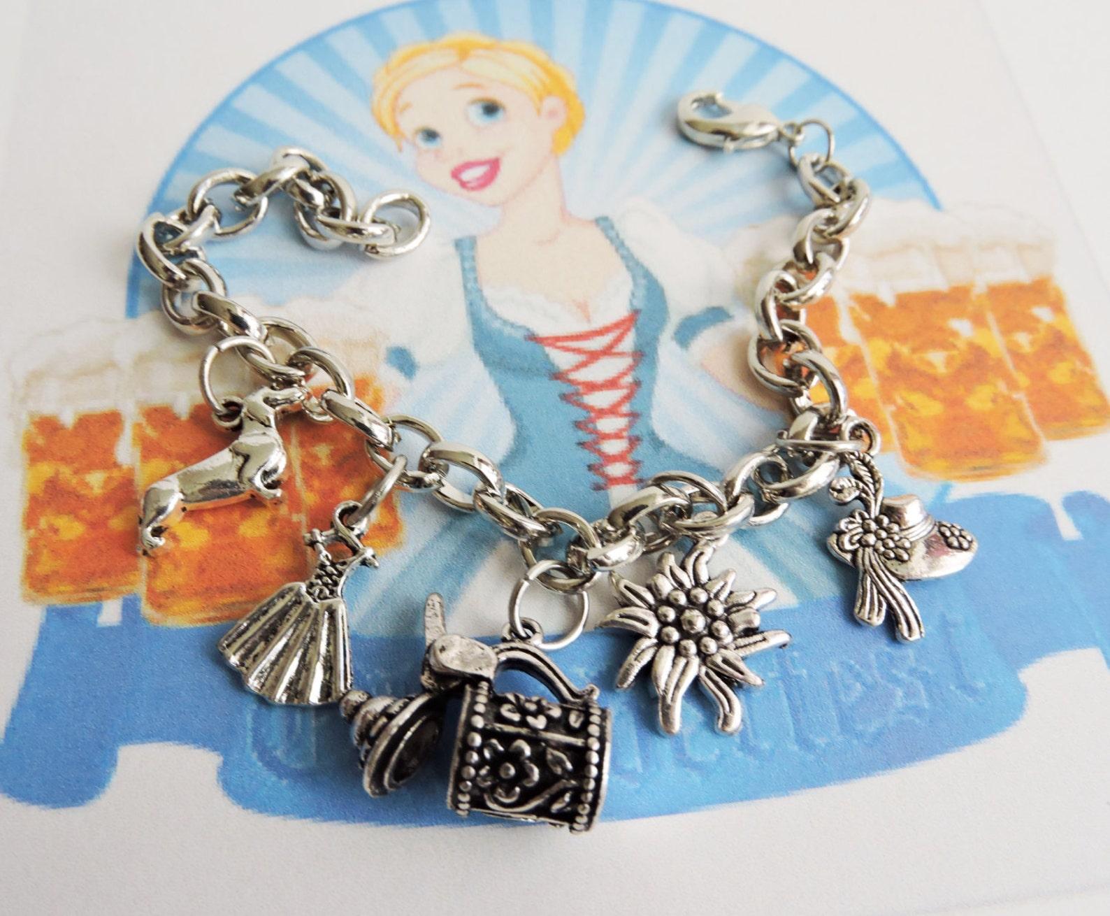 Oktoberfest Bracelet, German Charm Bracelet, German Bracelet, Dirndl Jewely