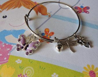 Girls Butterfly Bangle Bracelet, Adjustable Bangle Bracelet, Girls Jewelry, Butterfly Charm Bracelet, Kids Jewelry
