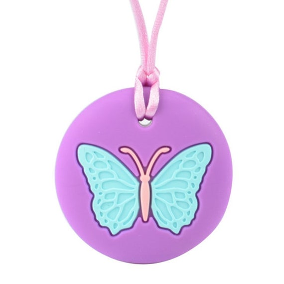 Teething necklace sensory chew autism pendant BPAfree silicone baby BUTTERFLY UK