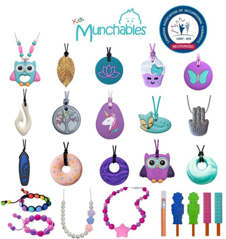 Munchables Cookie Sensory Chew Necklace \u2013 A Chewable Necklace Oral Motor Aid Ideal for Children and Adults