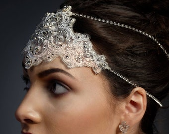 Swarovski crystal embellished lace, bridal hair drape chain, great gatsby, forehead band, bridal hair cap, comb, crystal juliet cap, 1920's