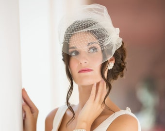Ivory Double layer Birdcage veil, ivory Bride veil, vintage style 1920's 1940's Russian net Bride veil, wedding hair