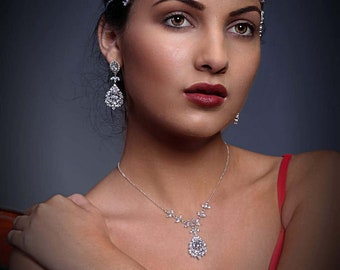 Crystal necklace, with option to add chandelier earrings, backdrop necklace, sterling  silver diamond cut chain,