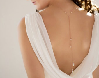 Rose gold Backdrop necklace, also made in Silver, swarovski crystal and pearl in your chosen colour and made to measure