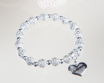 Personalised crystal bead bracelet with charms for Bridesmaid, flower girl, Maid of honour, mum, sister,