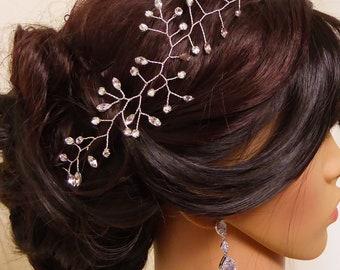 Crystal hair vine, silver hair vine, gold hair garland, halo, prom, wedding crown, leaf bride, accessories, accessory, bride hair accessory