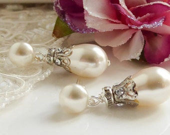 Vintage style Bridal pearl drop earrings, Swarovski Pearl and crystal. Victorian, mother of the bride