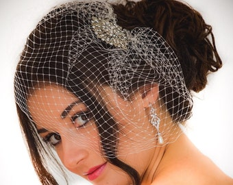 Birdcage veil with Crystal hair comb Art Deco style, diamanté hair comb, perfect to add to a birdcage veil