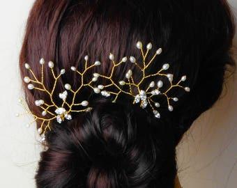 Bridal hair pins, Real pearl and swarovski crystal, freshwater vine,  or blush  bride hair, bridesmaid flower girl