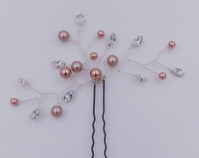 Brides hair pin, Swarovski crystal and pearl, vine, bride, bridesmaids accessories, , blush  bride hair bridesmaid flower girl,