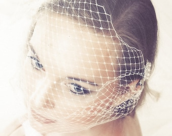 Bridal Birdcage veil, custom colours, with Swarovski Crystals. Vintage style 1920's 1940's