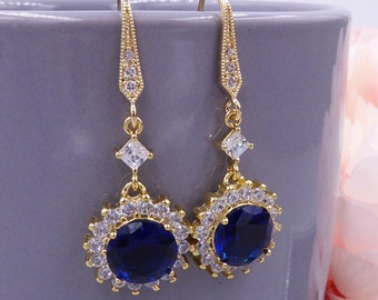 Sapphire navy blue Crystal drop earrings, Gold, with diamond shape cubic zirconia, just like princess Diana wedding jewellery