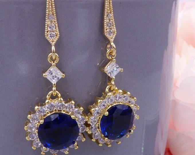 Sapphire blue Crystal drop earrings, Gold earrings, prom, beauty pageant jewelry, diamanté, bride, princess Diana wedding jewellery