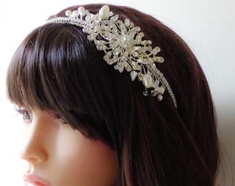 Side tiara Swarovski crystal, Pearl and crystal rhinestone, fully covered band, side Tiara Headband, vintage, classic style, great gatsby