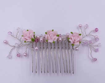 Flower hair comb with Swarovski crystal elements, fascination with blush pink and pastel tones, ideal for weddings