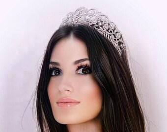 Crystal tiara, Swarovski elements pageant tiara, in silver or rose gold,