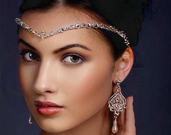 Crystal forehead band, with Swarovski crystals, v shape, bridal accessories, bride tiara, unique handmade design