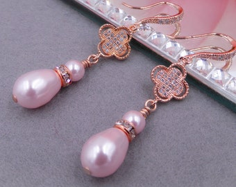 Pearl drop Rose gold bridal wedding earrings, crystal zirconia, with pave lucky four leaf clover flower