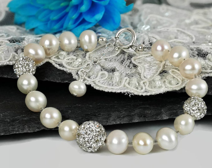Wedding bracelet, freshwater pearls and crystal, bridal jewellery, with sterling silver, gift for mother of groom
