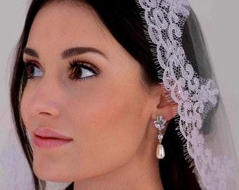 Bride earrings, cubic zirconia Crystal real freshwater pearl drop, leaf flower,