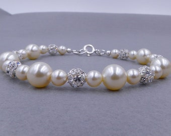 Bridal crystal bead and Swarovski pearl bracelet, 925 silver, made to measure and custom colour pearls