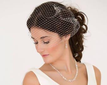 birdcage veil, bandeau, , black, Swarovski crystal, Vintage style 1920's 1940's Russian net Bride veil, wedding hairg