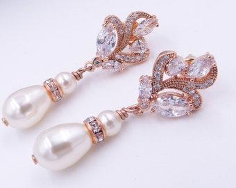 Crystal wedding earrings, Rose gold, silver, pearl, cubic zirconia, swarovski pearl drop, flower, cream, mother of the  bride, Prom earrings