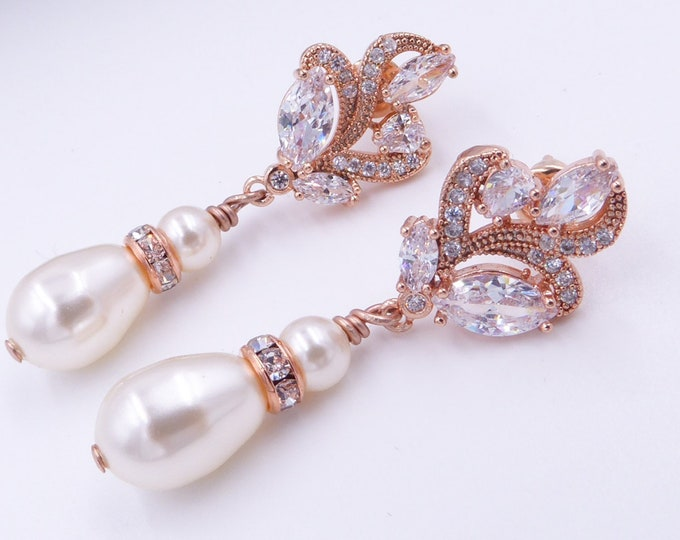 Crystal wedding earrings, Rose gold, silver, pearl, cubic zirconia, swarovski pearl drop, flower, cream, mother of the  bride, Prom earrings