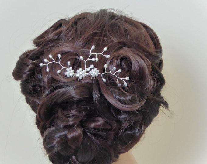 Freshwater Pearl wedding haircomb, bride silver hair vine, pearl spray with Swarovski Crystal elements, Ivory brides, bridesmaids, proms.