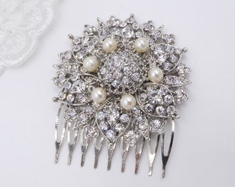 Bridal Crystal and pearl hair comb, Swarovski pearl, Vintage art Deco style, works well with birdcage veil.