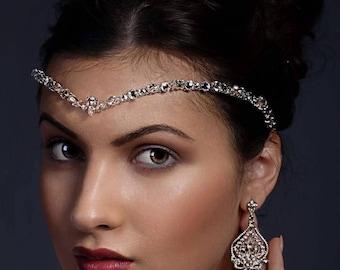 Crystal forehead band - headdress, swarovski elements, bridal accessories, bride hair, front teardrop,  bride tiara, unique handmade design