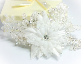 Bridal hair clip flower and Lace crystal hair piece, vine, comb, clip. With Swarovski crystal and Freshwater pearls