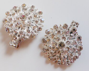 Bridal crystal hair clips, pins for veil, bridesmaids, rhinestone, wedding, prom, vintage glamour, birdcage veils, bridal, brides