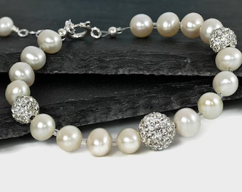 Wedding bracelet, real pearls, freshwater pearls and crystal rondelle beads with sterling silver clasp,