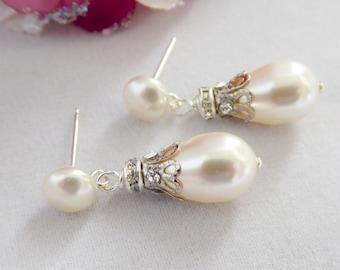 Vintage style Bridal pearl earrings, Swarovski Pearl and crystal. Victorian, Cream, wedding, brides, mother  bride,