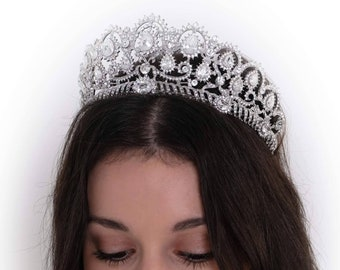 crystal tiara, with Swarovski crystal elements in silver or rose gold, Finished in any colour, fit for a bride, princess, pageant queen