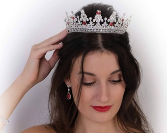 Custom colours, swarovski crystal tiara, gold, queen, princess, Silver, red, blue, pink, Bridal, prom, hair accessory, pageant headdress,