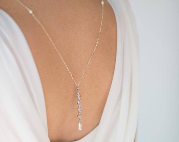 Bridal back Necklace, crystal and pearl, Swarovski, wedding, 925 Silver backdrop, low back, Gatsby vintage inspired for Choker, brides,
