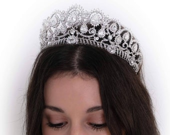 Swarovski crystal elements pageant tiara, Bridal crown, in silver or rose gold, perfect for fairy princess, pageant queen