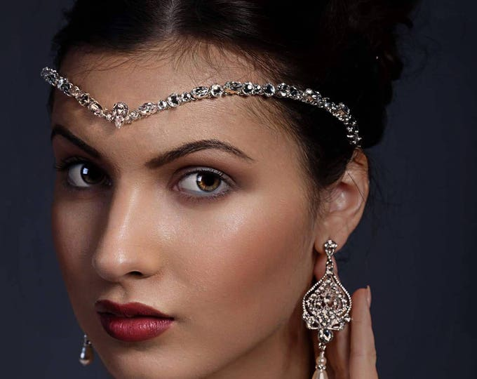 Crystal forehead band, silver, rosegold, gold, Swarovski, bridal accessories, front teardrop Swarovski, bride tiara, unique handmade design