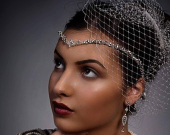 Crystal forehead band - headdress, swarovski elements, bridal accessories with front teardrop,  bride tiara, unique handmade design