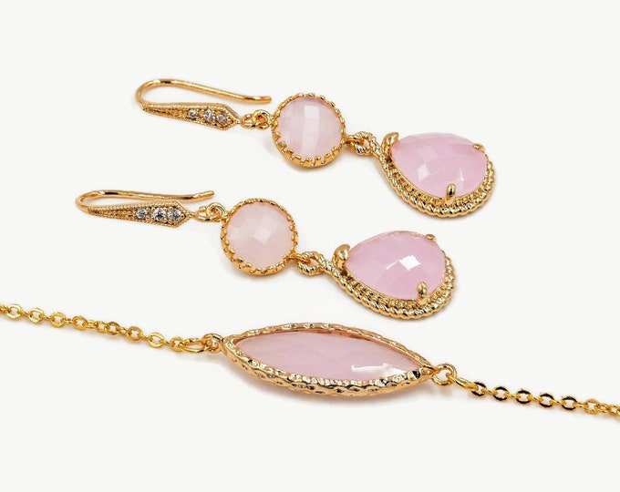 Pastel bracelet, light pink opal, Gold, bridesmaids gift, drop earrings, mint green, wedding jewellery set, cubic zirconia, dangle drop